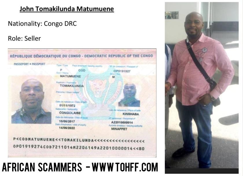 african scammer - John Tomakilunda Matumuene