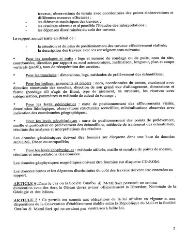 Mali Gold Scam - permis d'exportation d'Or 2