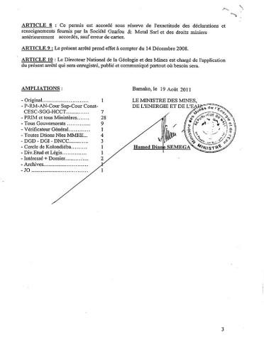 Mali Gold Scam - permis d'exportation d'Or 3