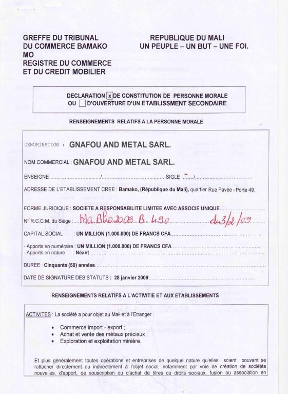 Mali Gold Scam - registration du commerce gnafou metal sarl_1