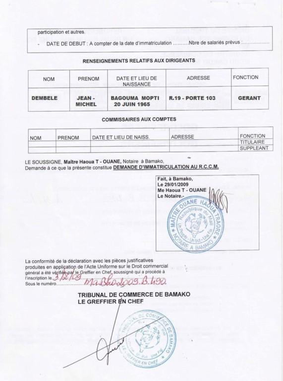 Mali Gold Scam - registration du commerce gnafou metal sarl_2