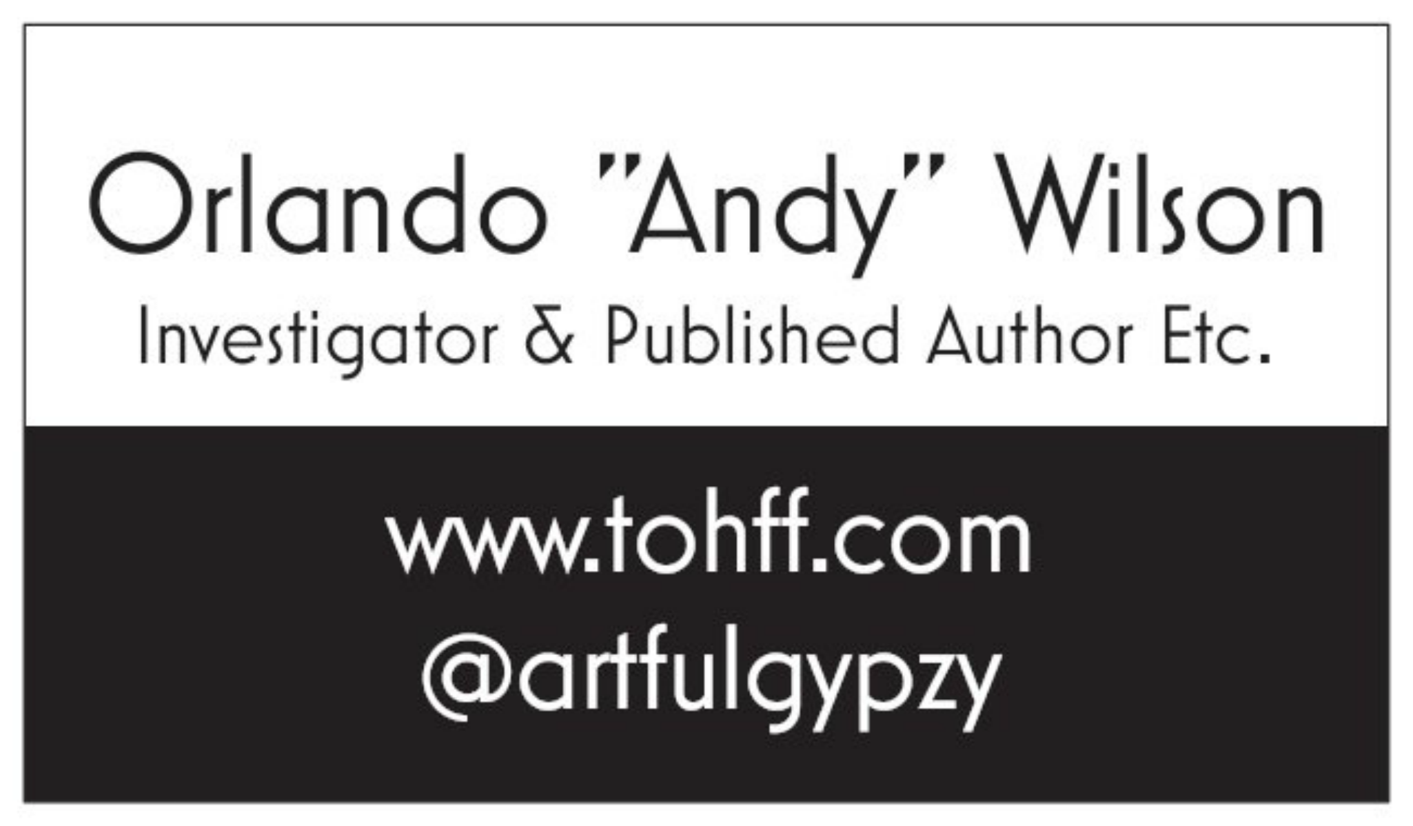 Orlando Wilson - Investigator & Writer